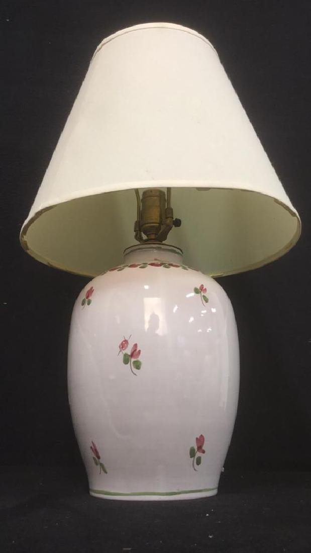 Signed Painted Ceramic Lamp W Floral Detail - 2