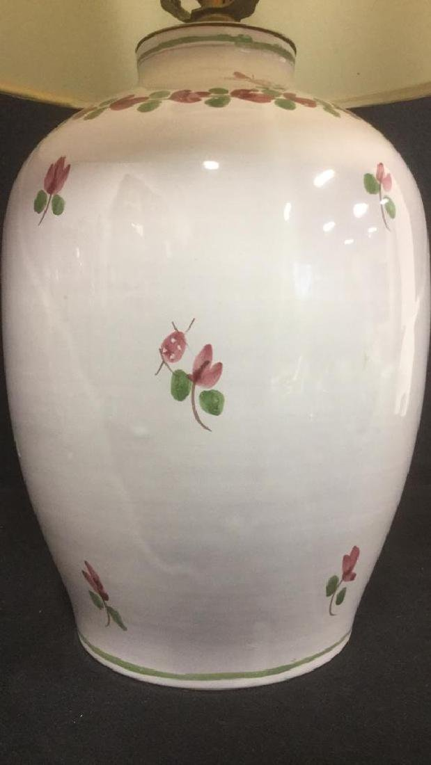 Signed Painted Ceramic Lamp W Floral Detail - 3