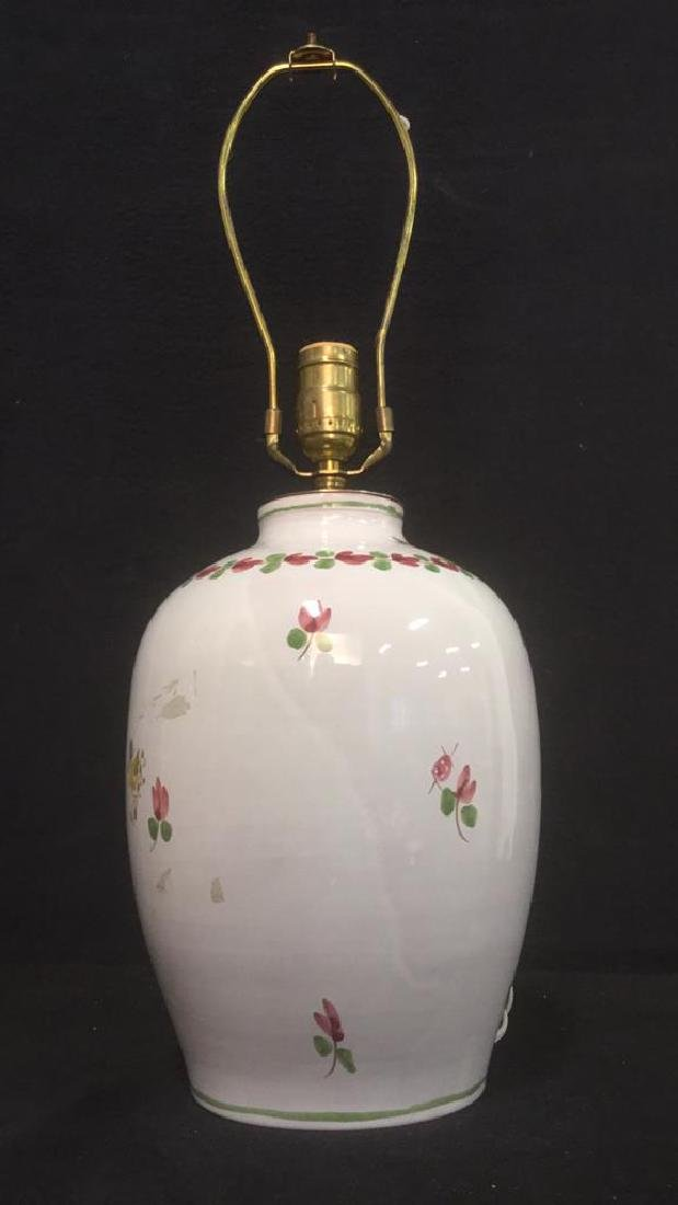 Signed Painted Ceramic Lamp W Floral Detail - 6
