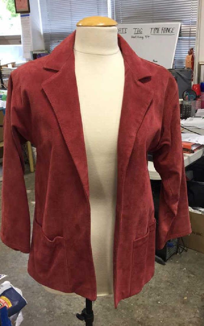 Vintage Red Suede Leather Womens Jacket