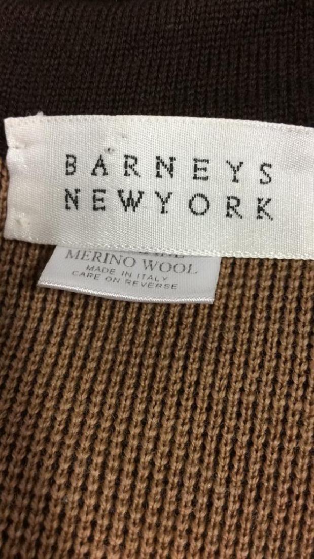 BARNEYS Merino Wool Brown Button Up Sweater
