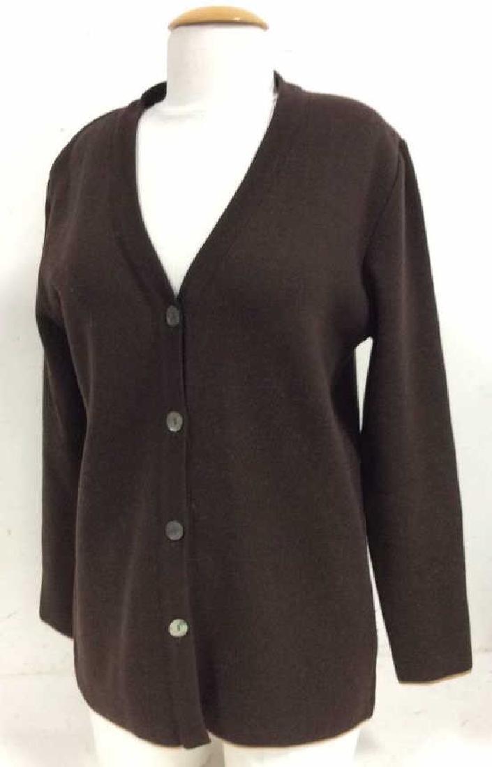 BARNEYS Merino Wool Brown Button Up Sweater - 2