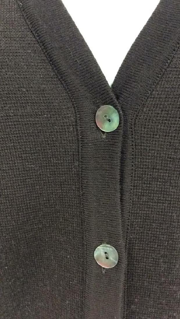 BARNEYS Merino Wool Brown Button Up Sweater - 3