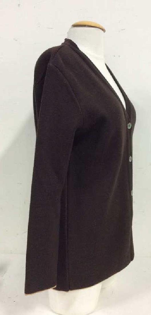 BARNEYS Merino Wool Brown Button Up Sweater - 4