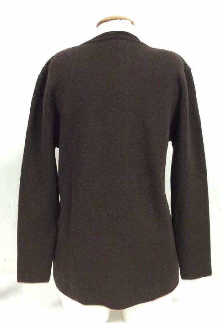 BARNEYS Merino Wool Brown Button Up Sweater - 6