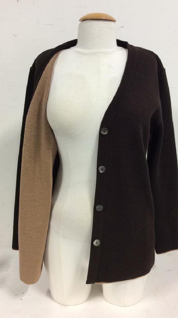 BARNEYS Merino Wool Brown Button Up Sweater - 7