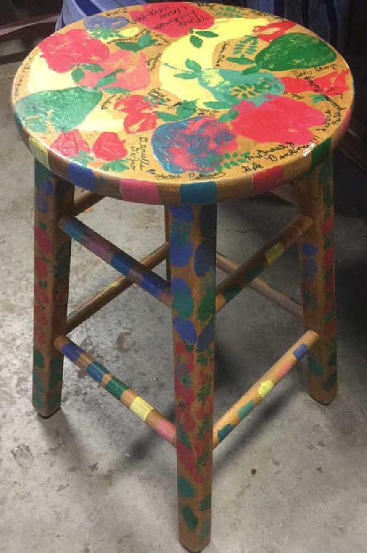 Multicolored Hand Painted Wooden  Stool