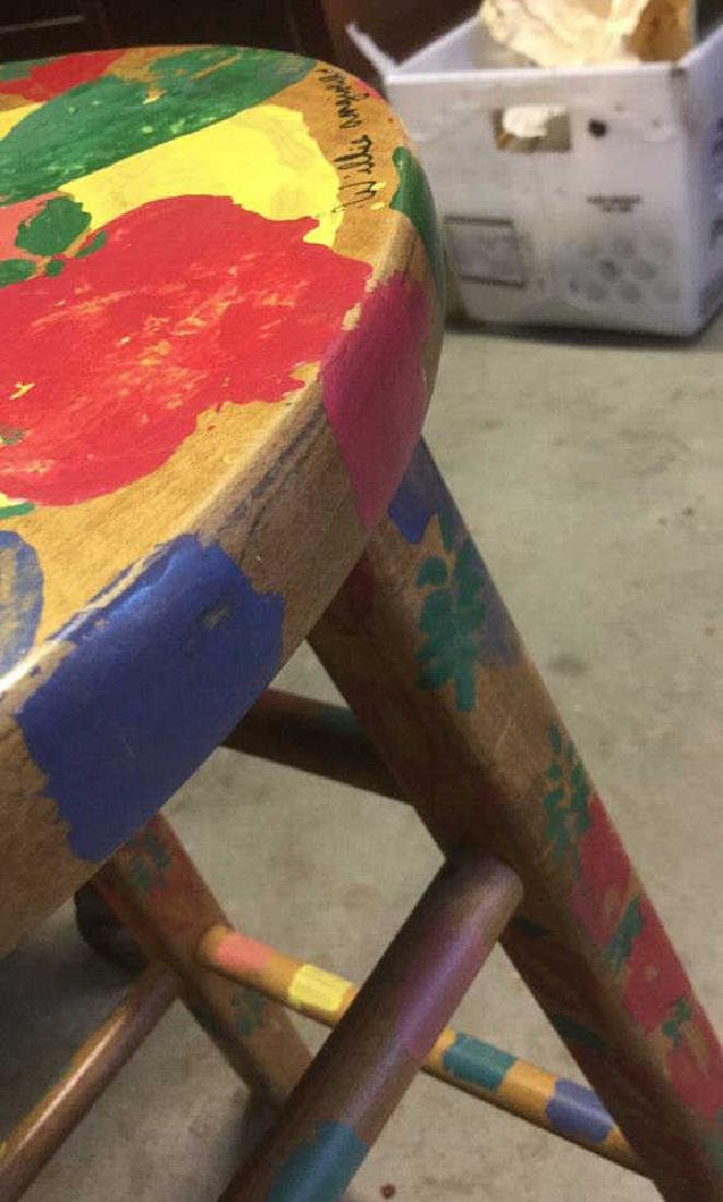 Multicolored Hand Painted Wooden  Stool - 6