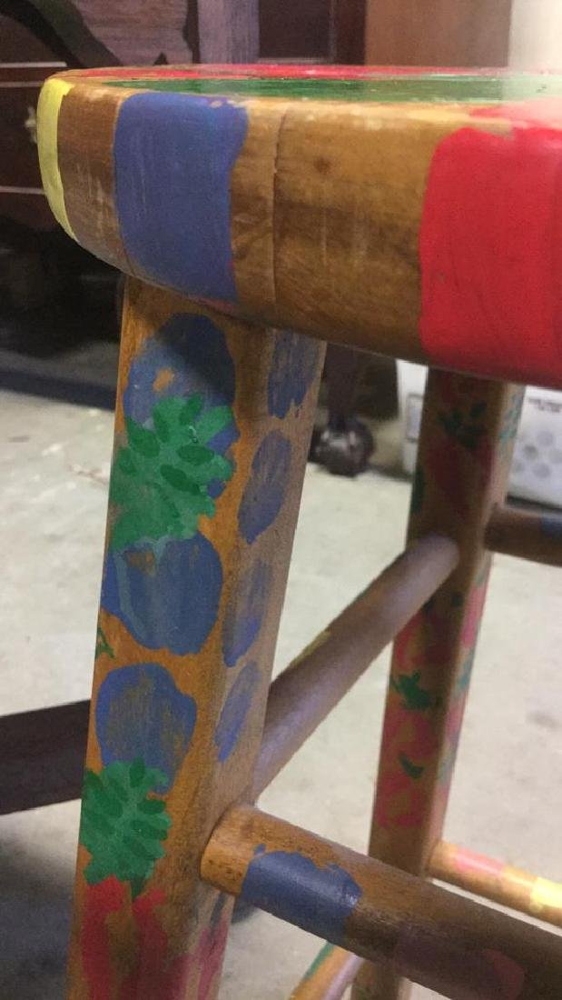 Multicolored Hand Painted Wooden  Stool - 8