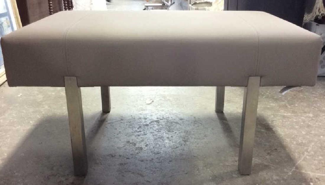 Contemporary Gray and Chrome Bench