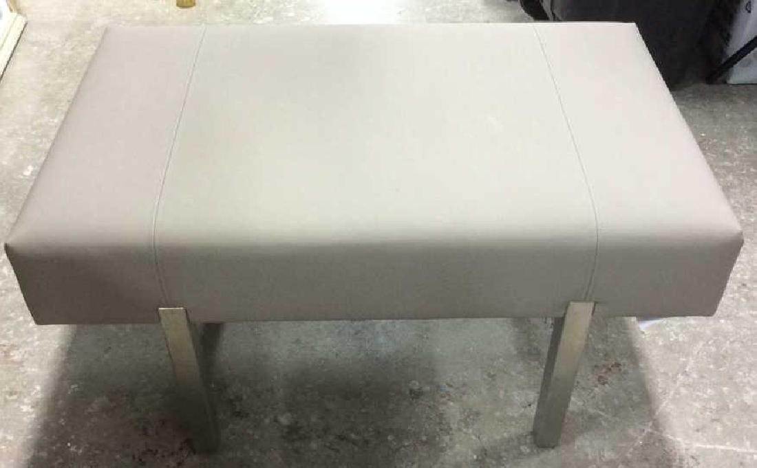 Contemporary Gray and Chrome Bench - 2