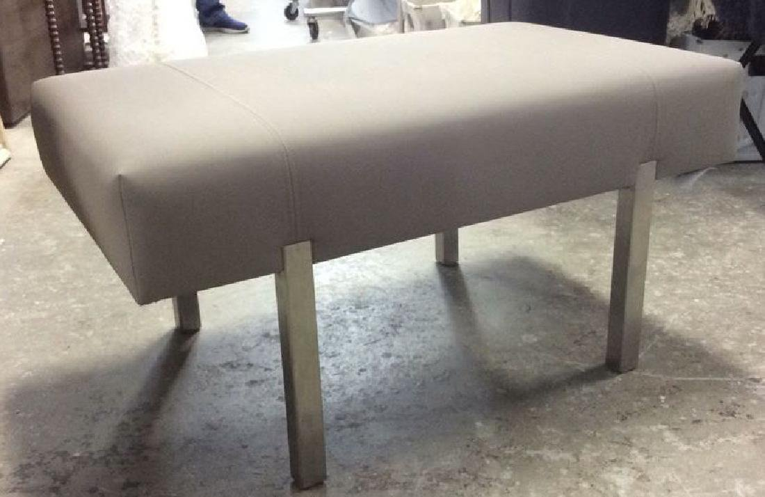 Contemporary Gray and Chrome Bench - 3