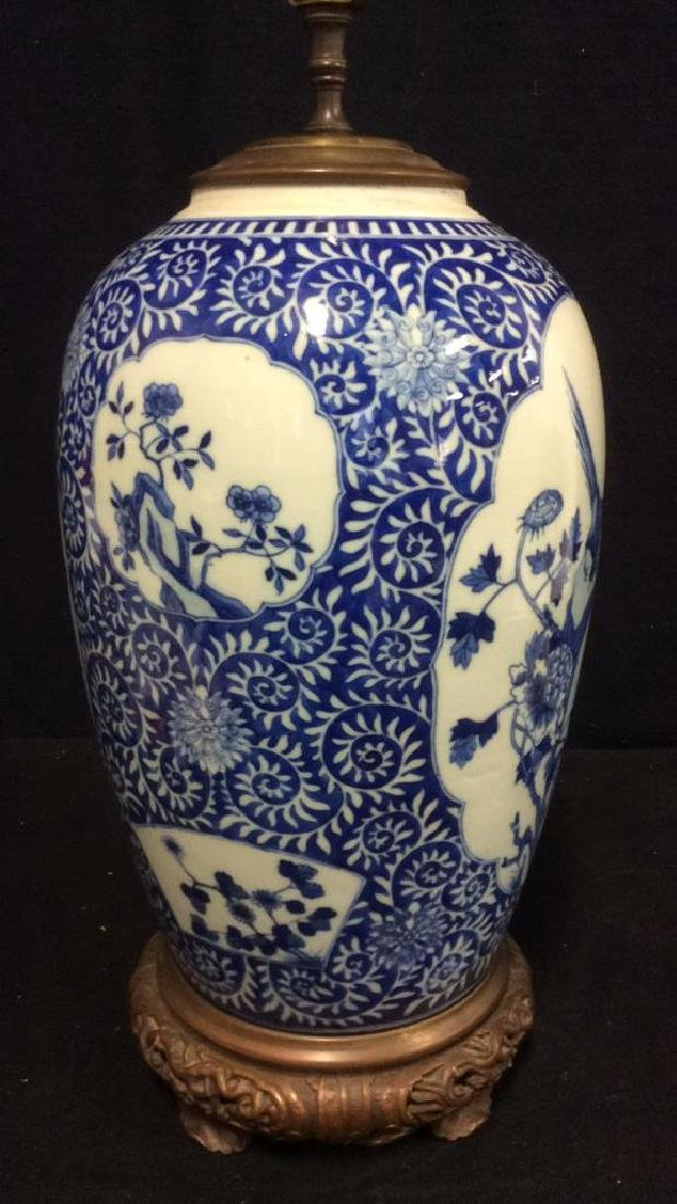 Asian Ceramic Porcelain Intricately Painted Lamp