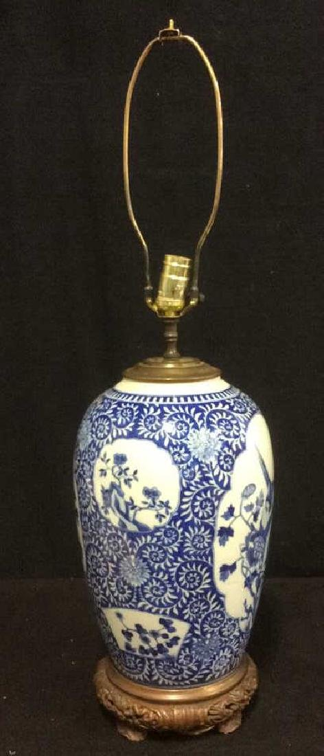 Asian Ceramic Porcelain Intricately Painted Lamp - 2