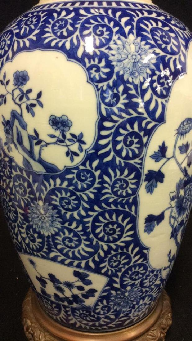 Asian Ceramic Porcelain Intricately Painted Lamp - 3