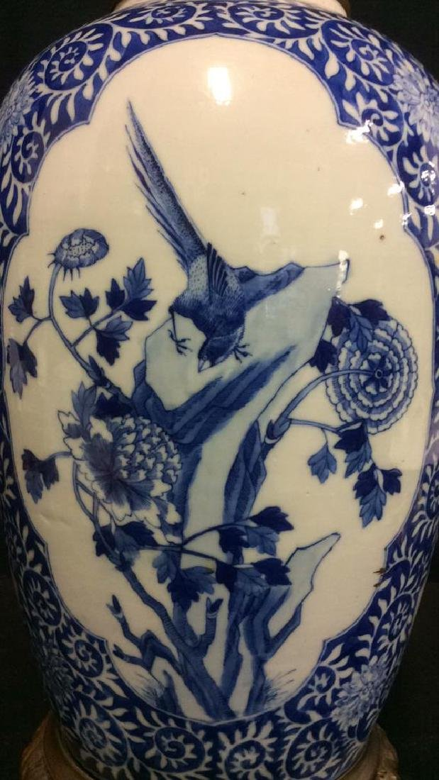 Asian Ceramic Porcelain Intricately Painted Lamp - 6