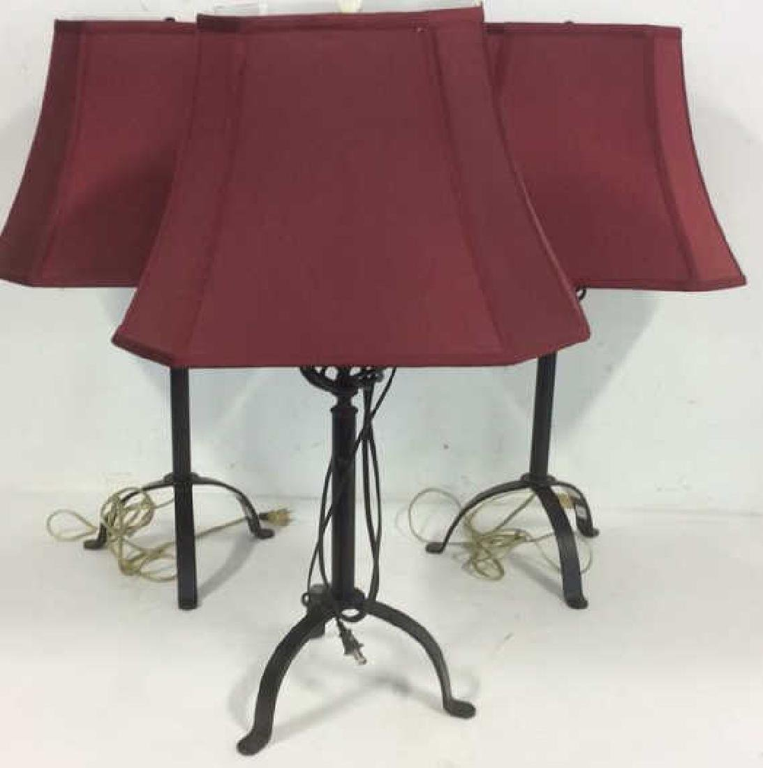 Lot 3 Black Toned Metal Lamps W Shades