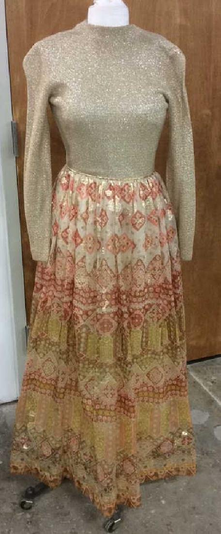 Vintage Gold Toned Ladies Evening Dress Bergdorf