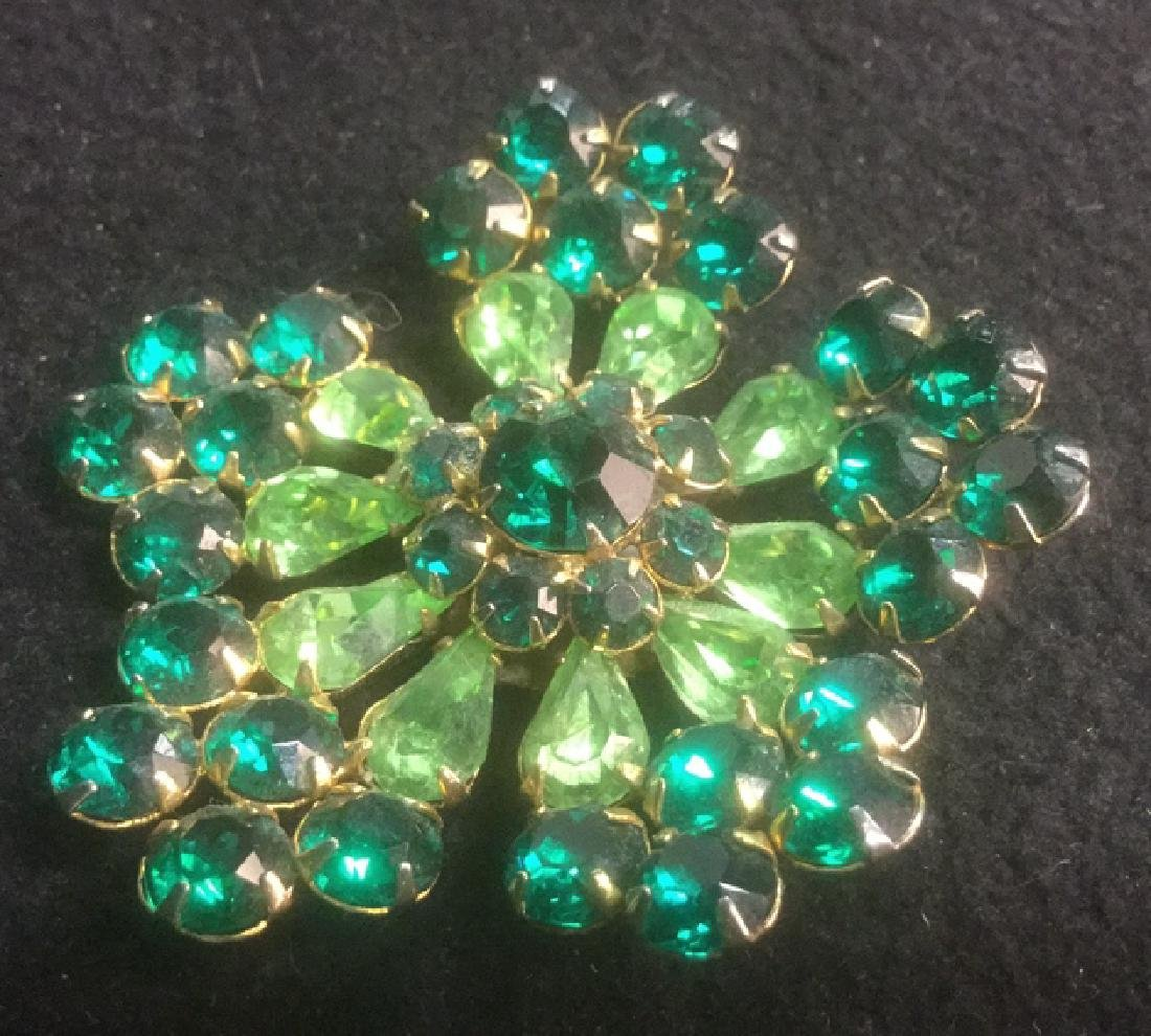 Group 10 Vintage Sparkley Costume Jewelry Brooches - 9