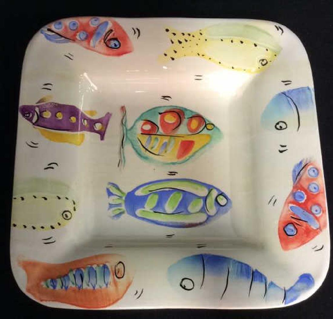 Square Painted Ceramic Dish W Fish Design