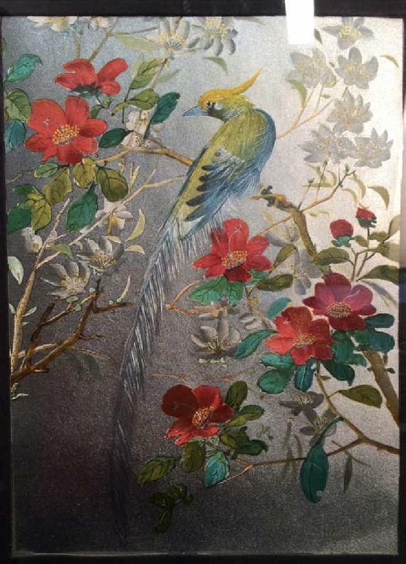 Iridescent Art Print Bird on a Flowered Vine