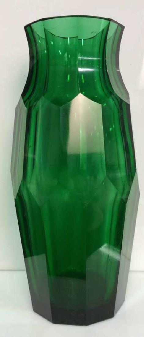 Green Toned Geometric Cut Glass Vase