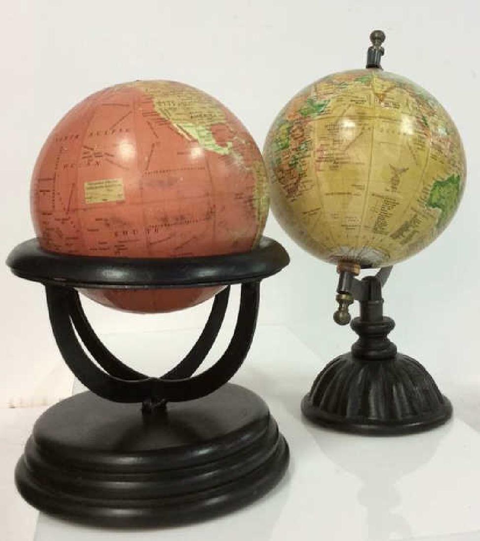 Lot 2 Desk Globes W Wooden Bases