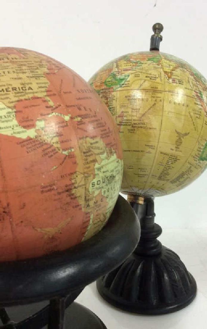 Lot 2 Desk Globes W Wooden Bases - 2