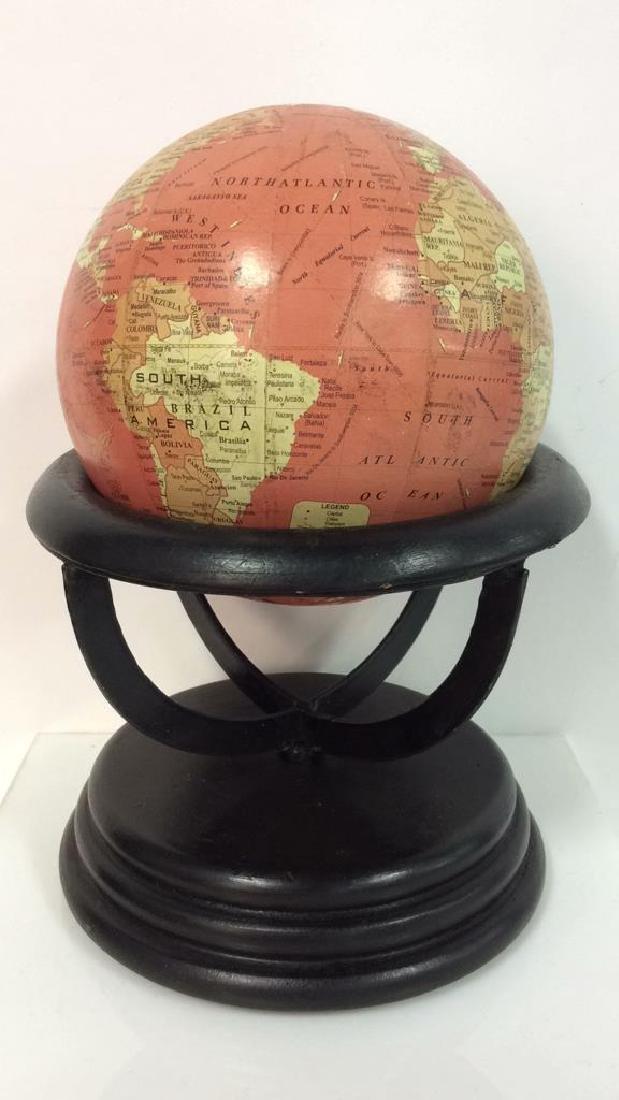 Lot 2 Desk Globes W Wooden Bases - 3