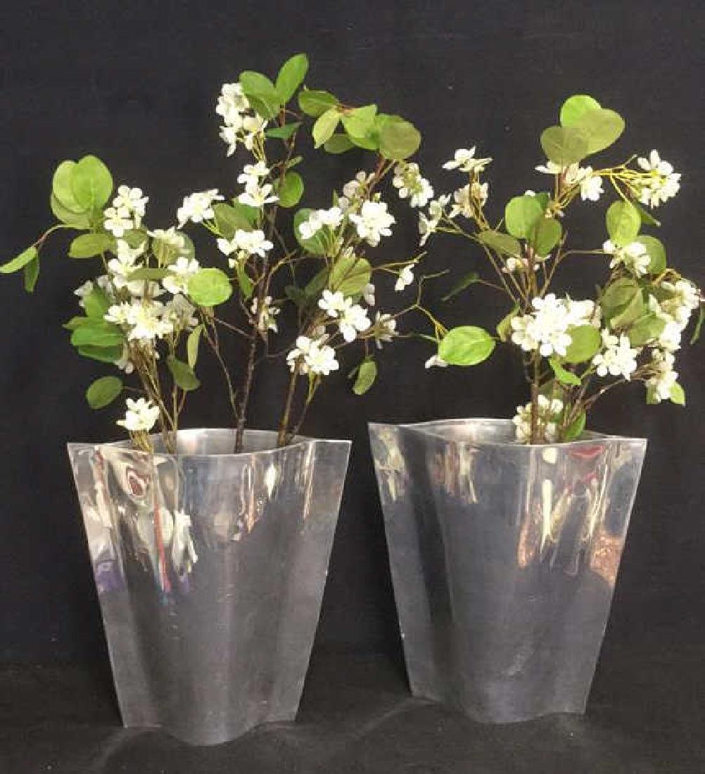 Pair Of Silver Toned Vases With Silk Flowers