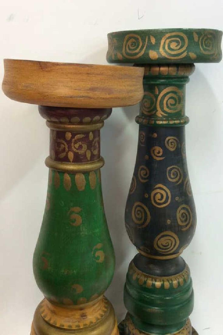 Pair Oversized Painted Wooden Candlesticks - 2