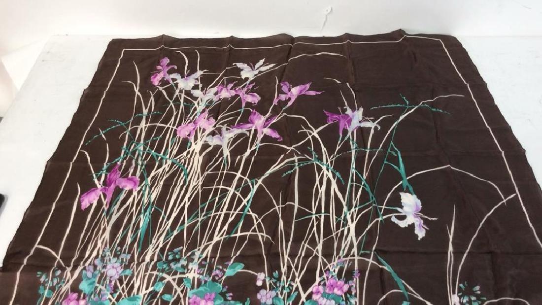 Silk Scarf W Iris Flower Design - 2