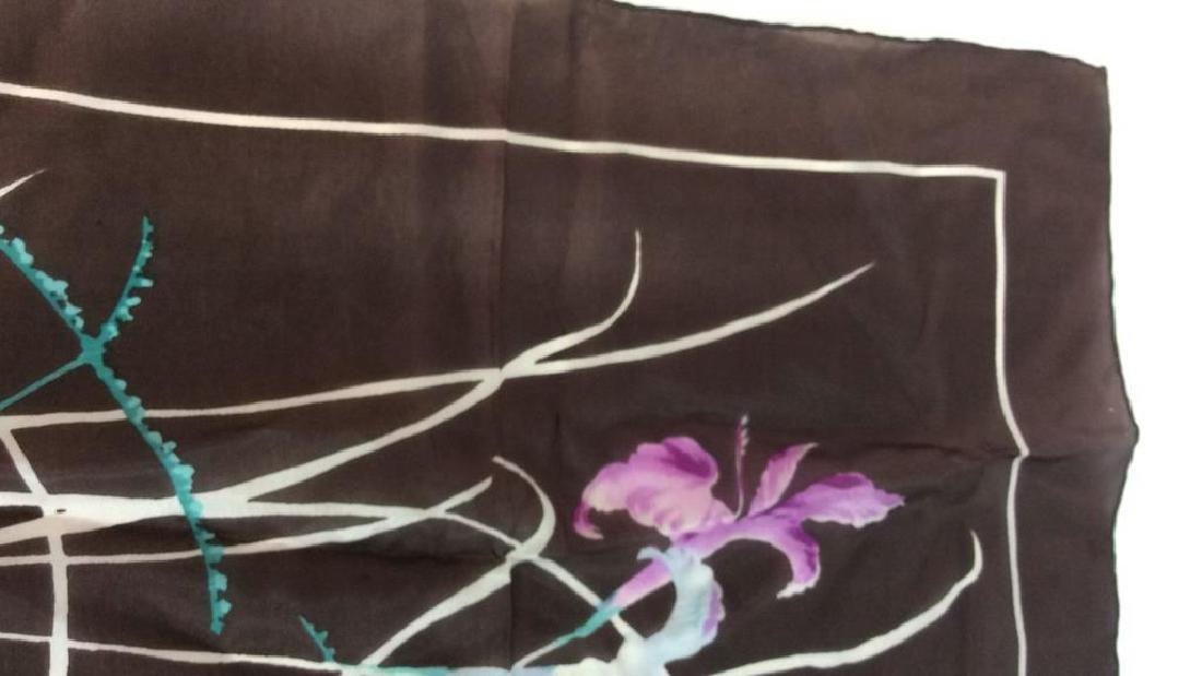Silk Scarf W Iris Flower Design - 3