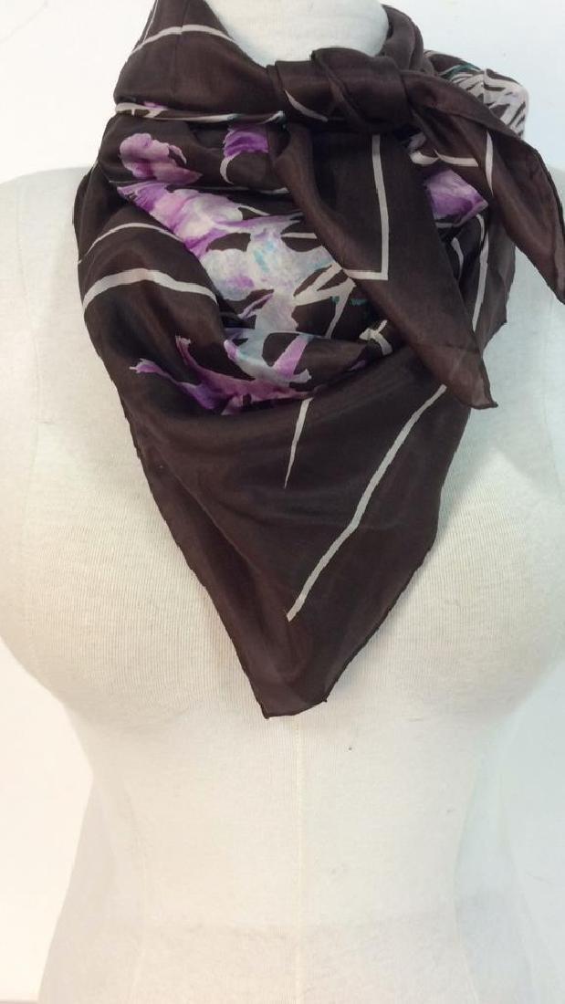 Silk Scarf W Iris Flower Design - 9