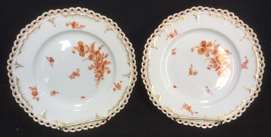 Lot 2 KPM Hand Painted Porcelain Dishes