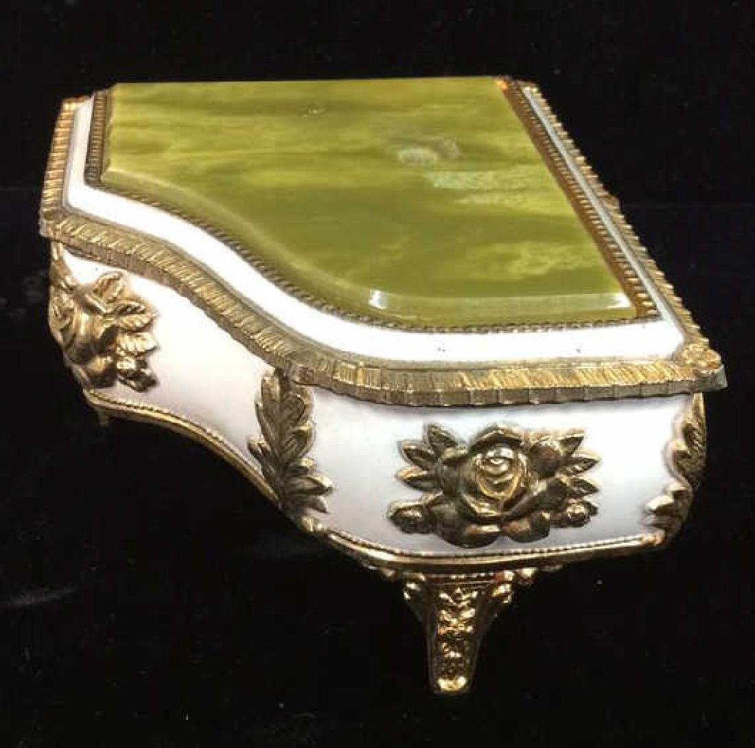Piano Figural Porcelain GIlded Music Box