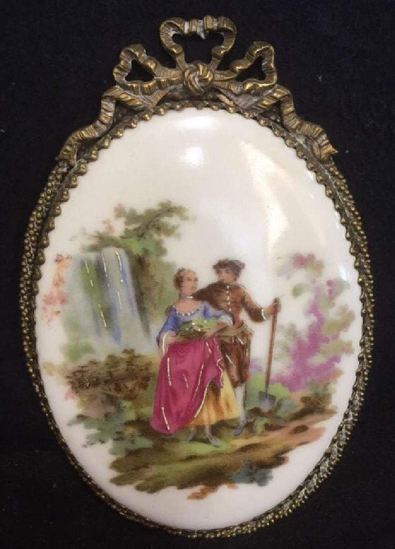 Ceramic Porcelain Painted Plaque In Brass Frame