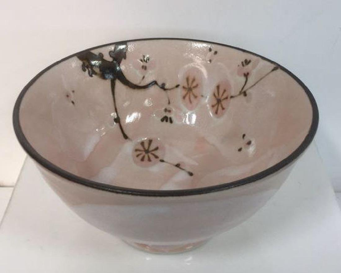 Pink And Brown Glazed Japanese Ceramic Bowl