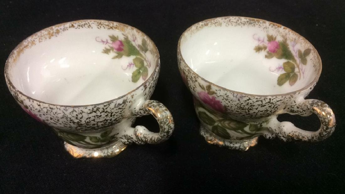 Pair Intricately Detailed Porcelain Teacups - 2