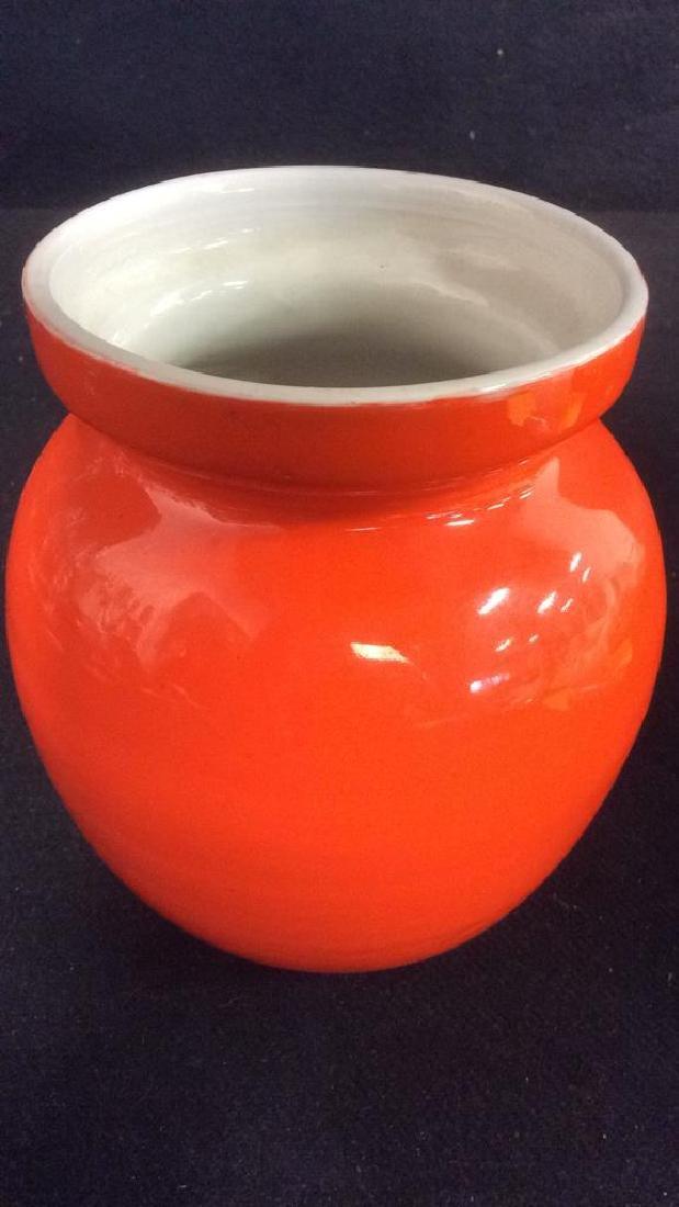 Orange Toned Italian Ceramic Planter - 4