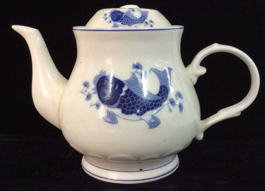 Porcelain Tea Pot W Koi Fish Design