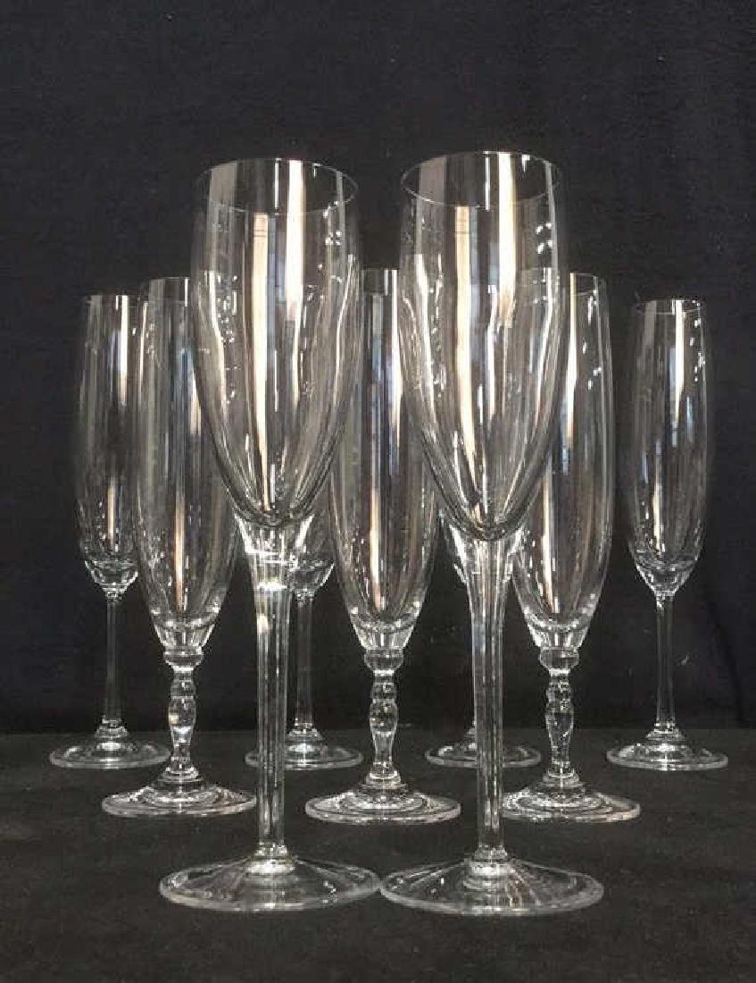 Lot 11 Mixed Crystal Champagne Flutes