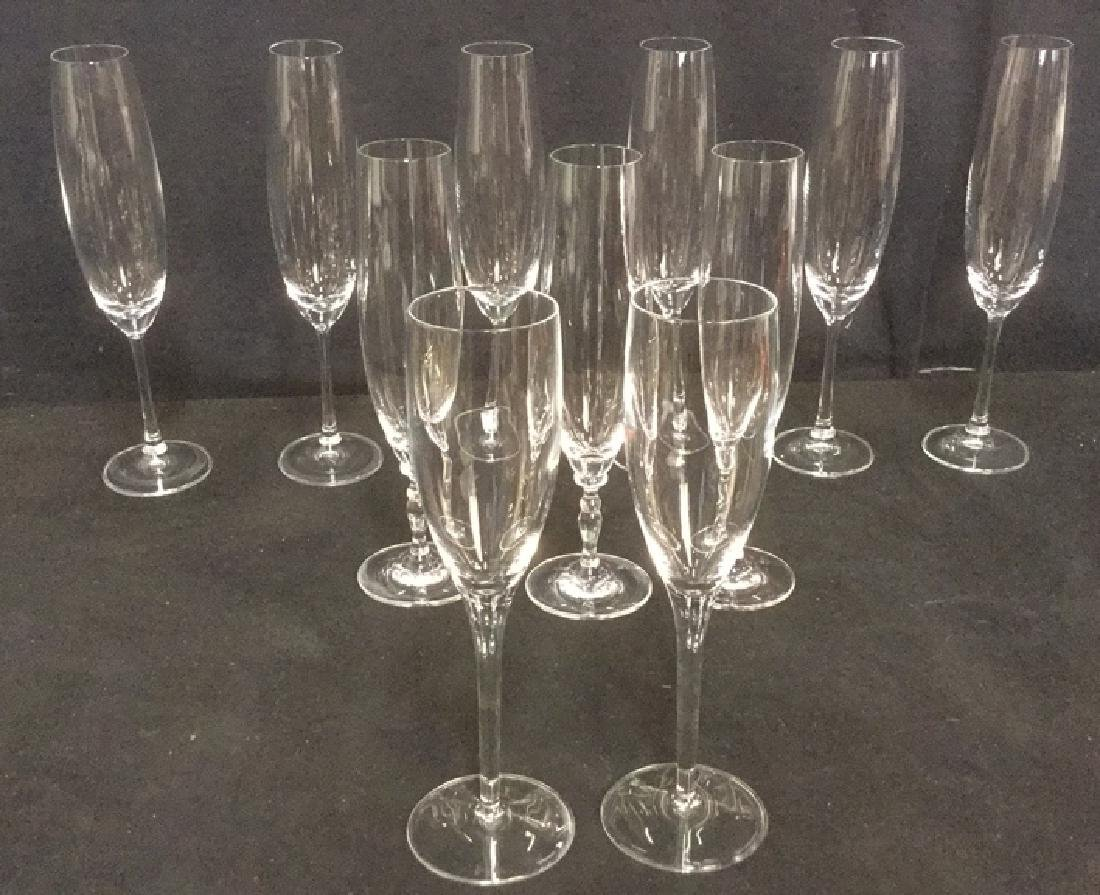 Lot 11 Mixed Crystal Champagne Flutes - 2