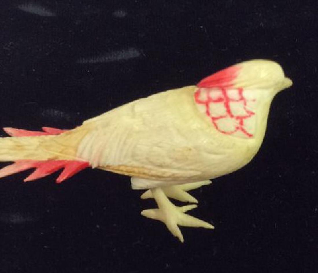 Pair Carved Bone Birds - 4