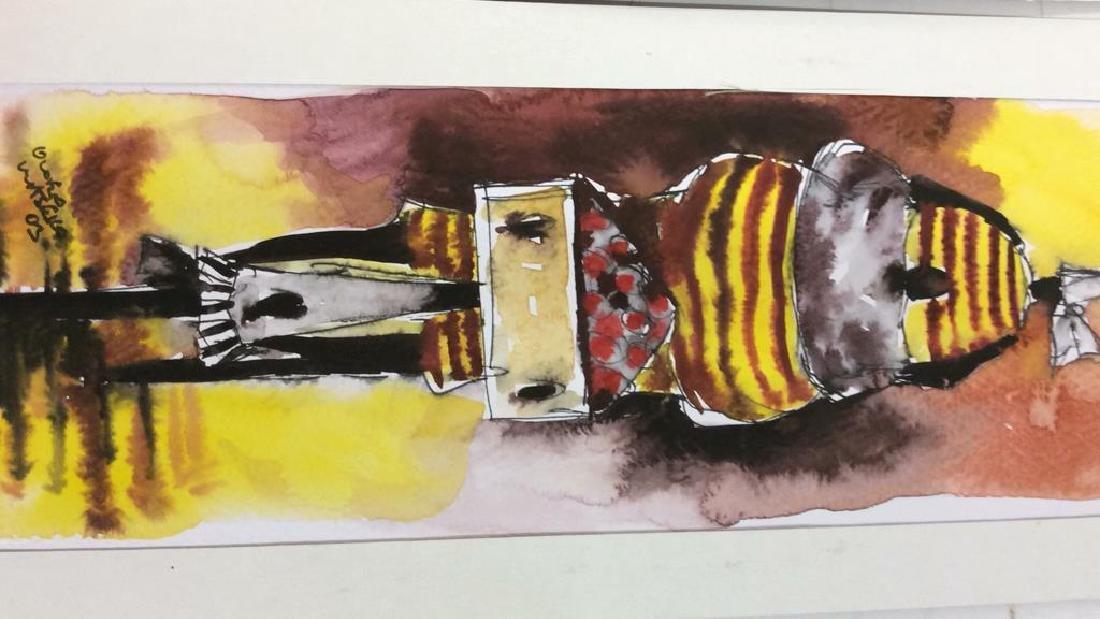 Lot 3 Signed Owen Maseko Watercolor Painting - 4