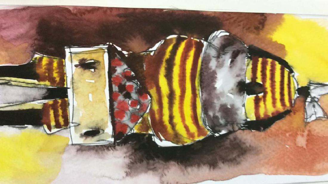 Lot 3 Signed Owen Maseko Watercolor Painting - 8