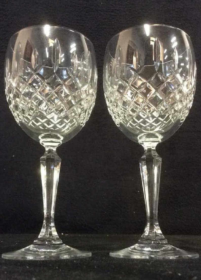 Pair CAVAN IRELAND Cut Crystal Wine Glasses