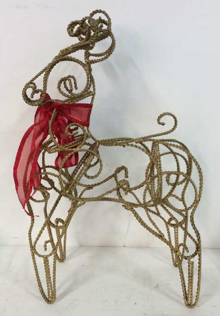 Curved Metal Filigree Style Reindeer Statuette