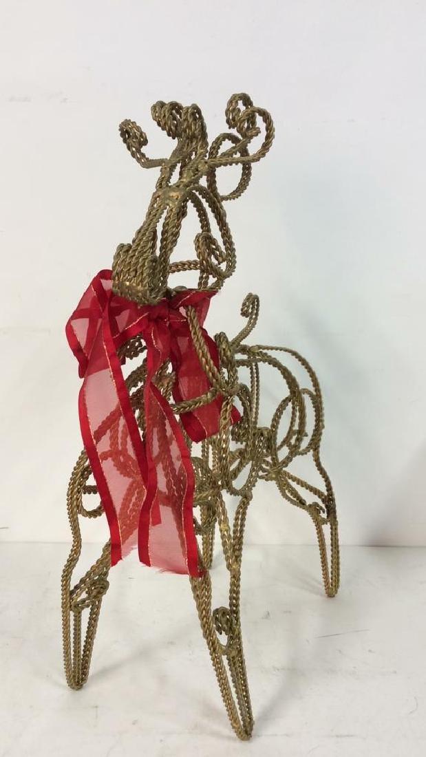 Curved Metal Filigree Style Reindeer Statuette - 2