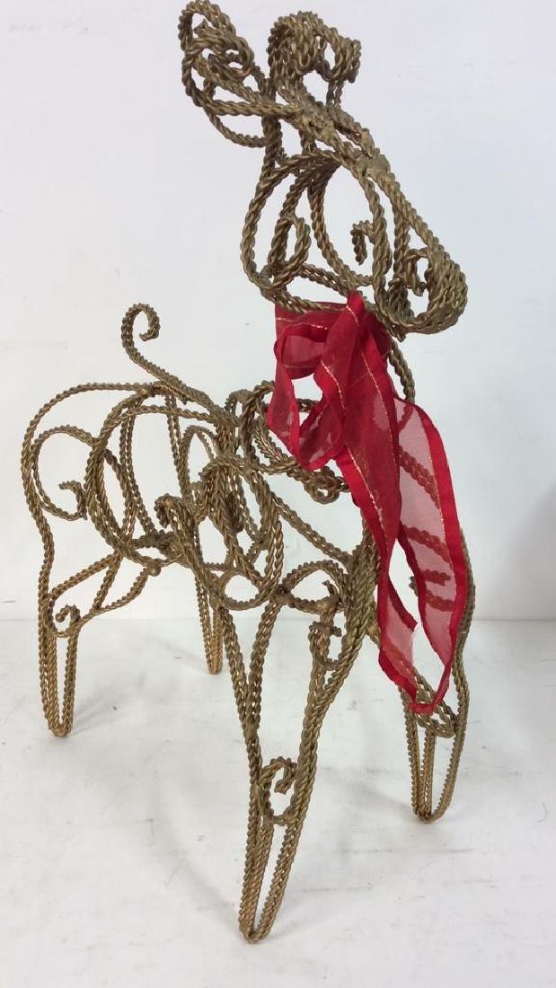 Curved Metal Filigree Style Reindeer Statuette - 3